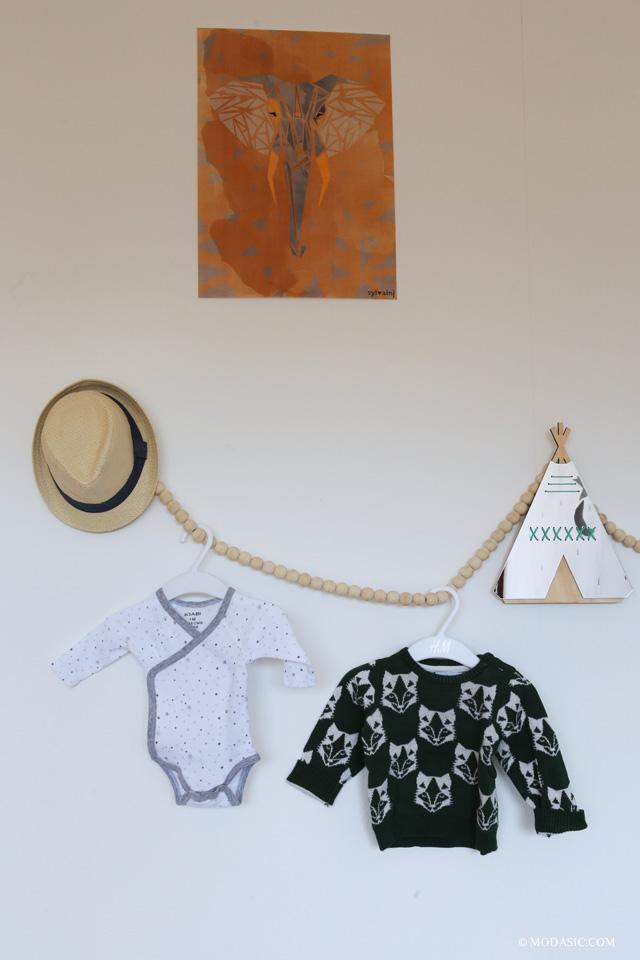 guirlande bois, chapeau paille enfant - Modasic