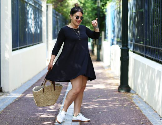 Robe noire + baskets blanches = le bon mix - Modasic